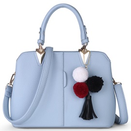 Bright Solid Color Tassel Decorated Women Satchel