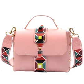 Color Splicing Rivets Printing Design PU Satchel