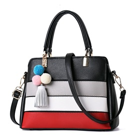 Concise Color Block Women Satchel