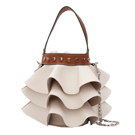 Bucket Shape Pleated Design Crossbody Bag