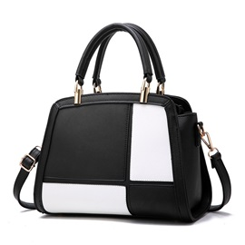 Graceful Color Block PU Women Satchel