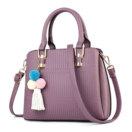 Simple Solid Color Zipper Women Handbag