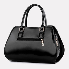 Solid Color Glossy Leather Women Handbag