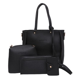 Concise Lichee Grain Solid Color Four Bag Set