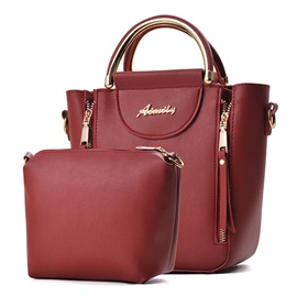 Occident Style Color Block Zipper Women Satchel