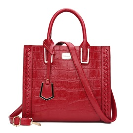Concise Crocodile Print Women Satchel