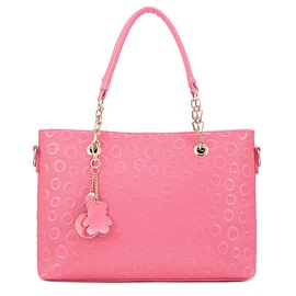 Solid Color Circle Pattern Zipper Satchel