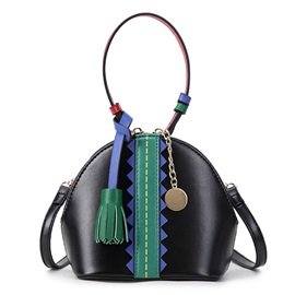 Color Block Tassel Adornment Shell Satchel