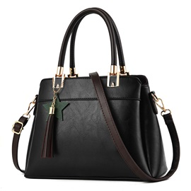 Causal Solid Color Tassel Decoration Women Satchel