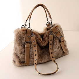 Casual Rivet Decoration Plush Women Satchel