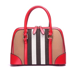 Color Block Stripe Zipper Women Satchel