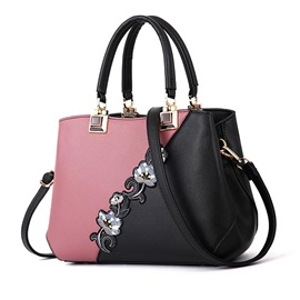 Chinese Style Color Block Floral Decoration Satchel