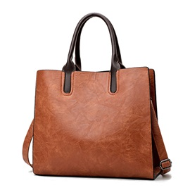 Concise Solid Color Women Satchel