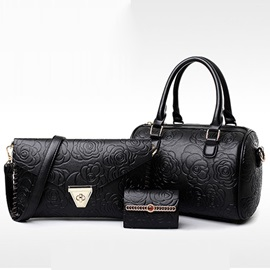 Casual Zipper Embossing Women's Bag Set