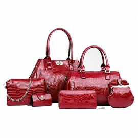 Casual Crocodile Latch Women Bag Set(6 pieces)