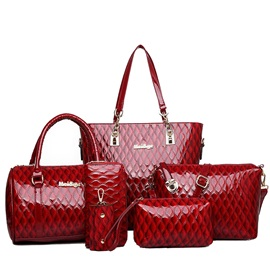 Glossy Argyle Embossed Zipper Women's Bag Sets