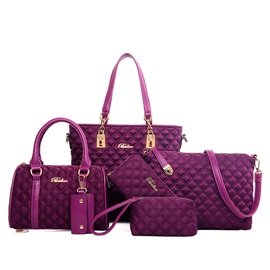 Argyle Zip Letters Women Bag Set