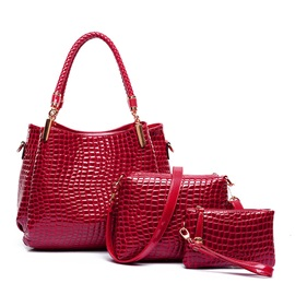Croco-embossed Zipper Pu Women Bag Set