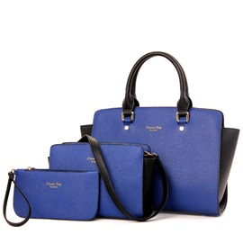 Graceful Color Block Women Bag Set with Letter(3 pieces)