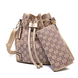 Classic Pattern Printed with Drawstring Bag Set ( Two Bags )