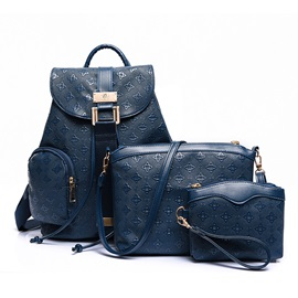 Vintage Plaid Embossing Women's Bag Set