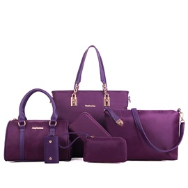 Casual Color Block Nylon Bag Set