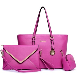 Solid Pure Color Women's Tote Bag Set ( Three Bags )