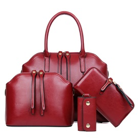 Pure Color Double-zipper Decorated Women's Bag Set ( Four Bags)