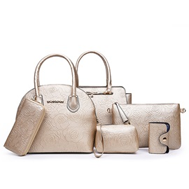 Flower Embossing Pure Color Women's Bag Set ( Six Bags )