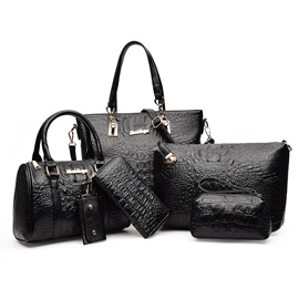 New Fashion Croco Embossed Skin 6 Pieces of Bag Sets