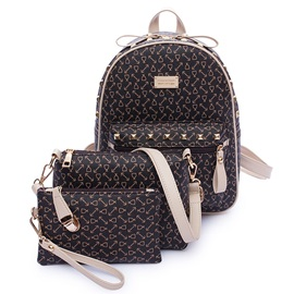 Arrows Pattern Rivets Decor Backpack Bag Sets