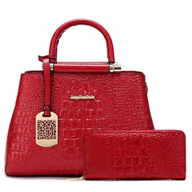 Classic Pure Color Croco-Embossed Bag Sets