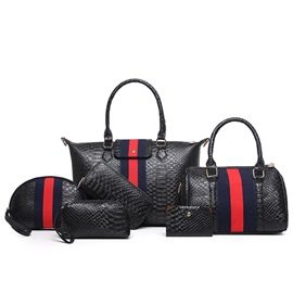 Europeamerica Stripe Serpentine Embossed Bag Sets