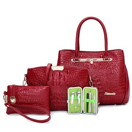 Elegant Croco-Embossed Bag Sets