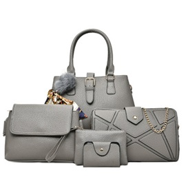 Occident Style Solid Color PU Bag Set