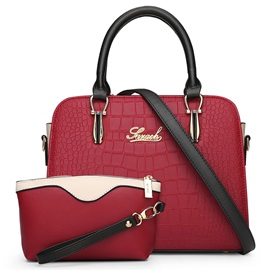 Concise Croco-Embossed Bag Set
