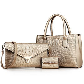 Croco-Embossed Solid Color Bag Set