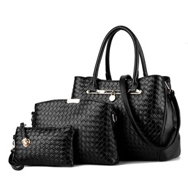 Casual Knitted Pattern Design Three Bag Set