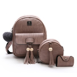 Preppy Chic Solid Color PU Women Backpack (3 Bags)