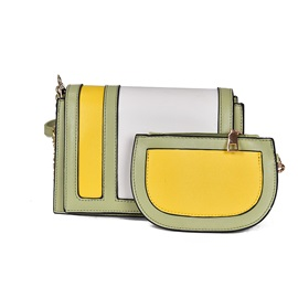 Chic Color Block Women Bag Set (Two Bags Set)