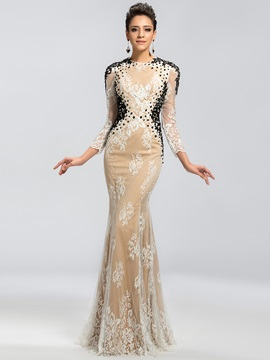 Eye-catching Backless Lace Appliques Backless Mermaid Long Evening Dress