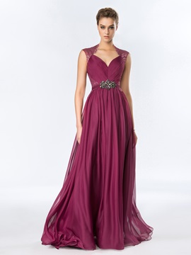 Tidebuy A-Line Ruched Lace Long Evening Dress Designed