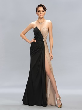 Classy Sweetheart Ruched Contrast Color Long Evening Dress Designed