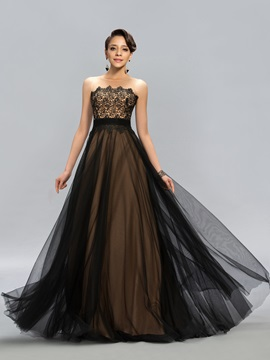 Classical Tulle Neck Lace A-Line Long Evening Dress Designed