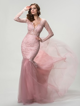Sensual Deep V-Neck Mermaid Lace Long Sleeves Evening Dress Designed