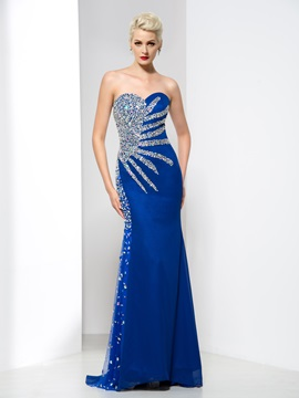 Shiny Sweetheart Beaded Crystal Sheath Long Evening Dress