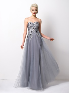 Shining Sweetheart Sequined Appliques A-Line Long Evening Dress