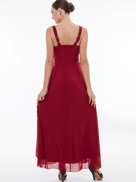 V-Neck Beading Ruched Ankle-Length Evening Dress