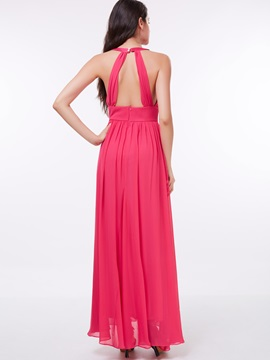 Casual Halter Ruched Hollow Long Prom Dress