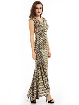 V-Neck Sheath Sequins Mermaid Evening Dress